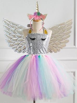 cheap Dresses-Kids Little Girls' Dress Unicorn Rainbow Patchwork Halloween Sequins Layered Patchwork Gold Silver Knee-length Sleeveless Active Sophisticated Cute Dresses Halloween Regular Fit