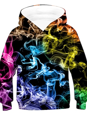 cheap Tops-Kids Boys' Hoodie & Sweatshirt Long Sleeve Rainbow Optical Illusion With Pockets Blue Purple Green Children Tops Active Basic Children's Day 2-12 Years