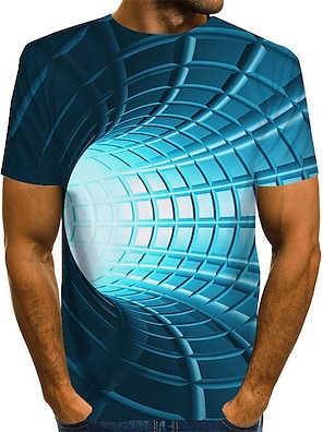 cheap Men's Tops-Men's Tee T shirt 3D Print Graphic Optical Illusion Print Short Sleeve Daily Tops Basic Designer Exaggerated Round Neck Blue Purple Red