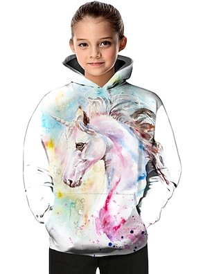 cheap Tops-Kids Toddler Girls' Hoodie & Sweatshirt Long Sleeve Fantastic Beasts Unicorn Color Block Geometric Animal Print White Children Tops Active Basic Christmas