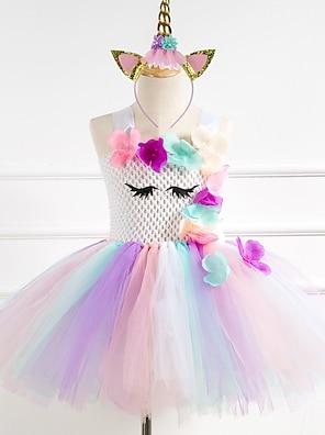 cheap Dresses-Kids Little Girls' Dress Unicorn Rainbow Patchwork Christmas Lace up Mesh Patchwork Rainbow Knee-length Sleeveless Flower Streetwear Cute Dresses New Year Regular Fit