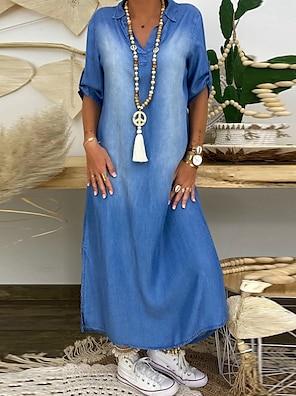 cheap Women's Dresses-Women's Denim Dress Maxi long Dress Blue Half Sleeve Solid Color Summer V Neck Casual Loose 2021 M L XL XXL 3XL / Plus Size / Plus Size