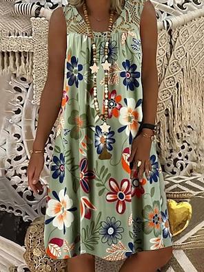 cheap Women's Dresses-Women's Shift Dress Knee Length Dress White Black Army Green Fuchsia Navy Blue Sleeveless Floral Lace Print Summer Round Neck Hot Mumu vacation dresses 2021 M L XL XXL 3XL 4XL 5XL / Plus Size