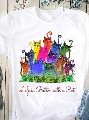 cheap Women's Tops-Women's T shirt Cat Print Round Neck Basic Tops White Blue Purple