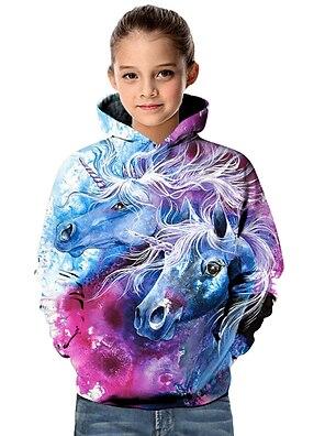 cheap Tops-Kids Toddler Girls' Hoodie & Sweatshirt Long Sleeve Unicorn Geometric 3D Animal Print Purple Children Tops Active Basic Christmas