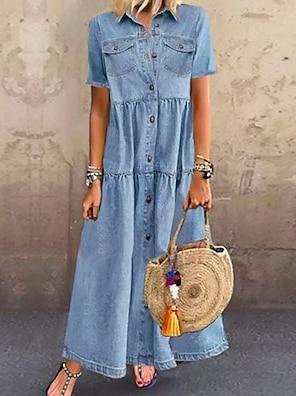 cheap Women's Dresses-Women's Denim Shirt Dress Maxi long Dress Dark Blue Light Blue Short Sleeve Solid Color Pocket Button Summer Shirt Collar Chic & Modern Hot Casual vacation dresses 100% Cotton 2021 S M L XL XXL 3XL