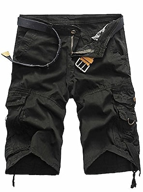 cheap Basic Shorts & Pants-mens casual fashion cargo shorts  relaxed fit multi-pocket outdoor summer khaki