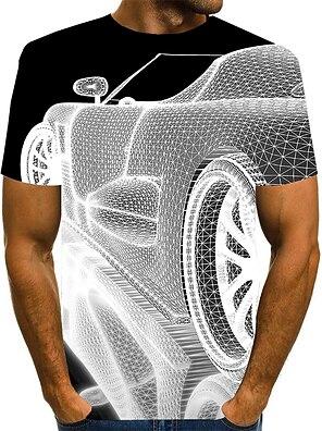 cheap Men's Tops-Men's T shirt Shirt 3D Print Graphic 3D Plus Size Print Short Sleeve Daily Tops Elegant Exaggerated Round Neck White Blue Purple
