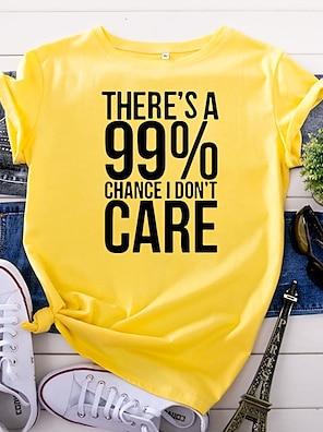 cheap Women's Dresses-Women's T shirt Graphic Text Graphic Prints Print Round Neck Tops 100% Cotton Basic Basic Top White Yellow Blushing Pink