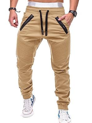 cheap Print Shorts & Trousers-Men's Active / Basic Chinos wfh Sweatpants - Solid Colored Gray Army Green Khaki XL XXL XXXL