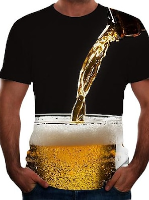 cheap Men's Tops-Men's Tee T shirt 3D Print Graphic 3D Beer Plus Size Short Sleeve Going out Tops Basic Comfortable Big and Tall Black Red Blushing Pink