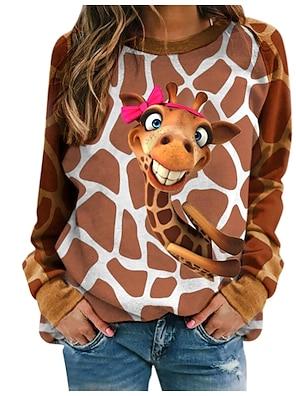 cheap Women's Tops-Women's T shirt Floral Stripes Giraffe Long Sleeve Print Round Neck Tops Active Basic Basic Top White Blue Brown