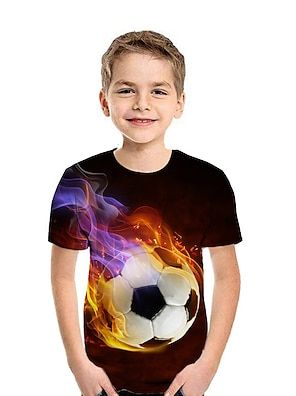 cheap Tops-Kids Boys' T shirt Tee Short Sleeve Graphic 3D Football Print Light Yellow Red Black Children Tops Summer Active Casual / Daily Sports Children's Day 2-13 Years