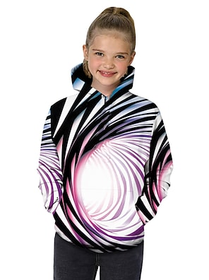 cheap Tops-Kids Toddler Girls' Hoodie & Sweatshirt Long Sleeve Black & White Fantastic Beasts Rainbow Striped Color Block 3D Print Rainbow Children Tops Active Basic Christmas