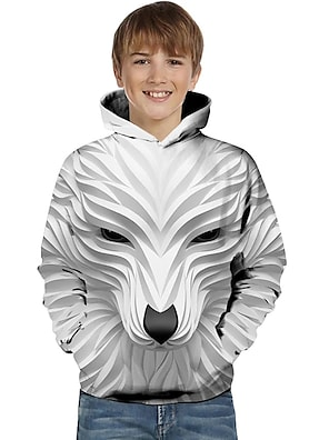 cheap Tops-Kids Toddler Boys' Hoodie & Sweatshirt Long Sleeve Wolf 3D Printed Striped Geometric Animal Fashion White Black Children Tops Active Basic Easter