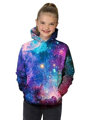 cheap Tops-Kids Toddler Girls' Hoodie & Sweatshirt Long Sleeve Fantastic Beasts Galaxy Color Block Geometric 3D Print Purple Children Tops Active Basic Christmas