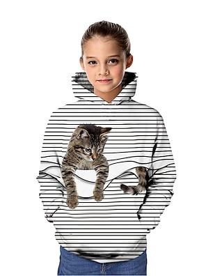 cheap Tops-Kids Girls' Hoodie & Sweatshirt Long Sleeve Cat Graphic 3D Animal Print White Purple Red Children Tops Active