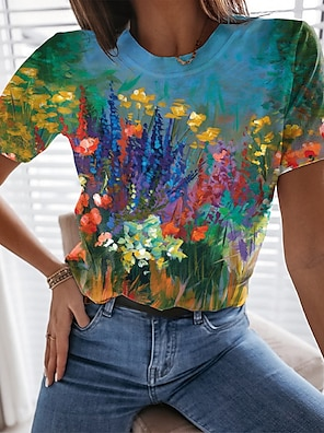 cheap Women's Tops-Women's Floral Theme Painting T shirt Floral Graphic Print Round Neck Basic Tops Blue