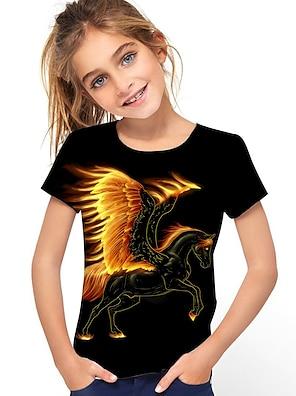 cheap Tops-Kids Girls' T shirt Tee Short Sleeve Horse Graphic 3D Animal Print Black Children Tops Active