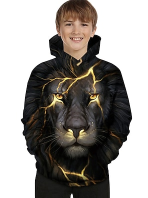 cheap Tops-Kids Toddler Boys' Hoodie & Sweatshirt Long Sleeve Lion Color Block Geometric 3D Print Black Children Tops Active Basic