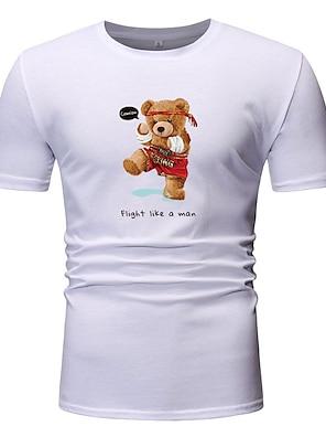 cheap For Men-Men's Unisex T shirt Other Prints Graphic Plus Size Short Sleeve Casual Tops Basic White Black