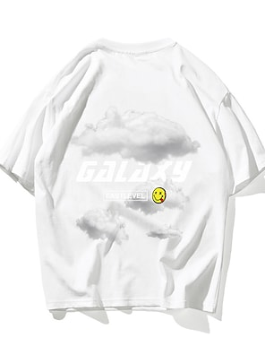cheap For Men-Men's Unisex T shirt Hot Stamping Letter Plus Size Print Short Sleeve Daily Tops 100% Cotton Basic Casual White Black Orange