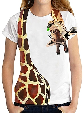 cheap Women's Tops-Women's T shirt Graphic 3D Giraffe Print Round Neck Tops Basic Basic Top White