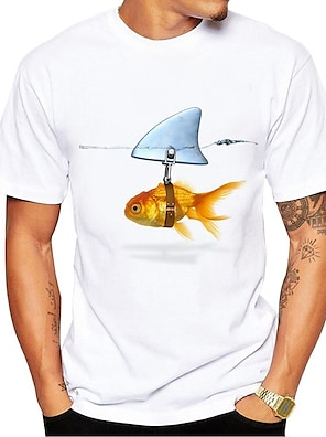 cheap Men's Tops-Men's Unisex Tee T shirt Shirt Hot Stamping Fish Animal Plus Size Print Short Sleeve Daily Tops 100% Cotton Basic Casual Round Neck Blue and White White+Red White / Summer