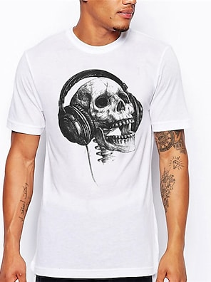 cheap Men's Tops-Men's Unisex Tees T shirt Hot Stamping Skull Plus Size Print Short Sleeve Daily Tops 100% Cotton Basic Casual Big and Tall Sillver Gray Dark Grey White / Black