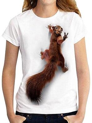 cheap Women's Tops-Women's 3D Printed T shirt Graphic 3D Animal Print Round Neck Basic Tops White
