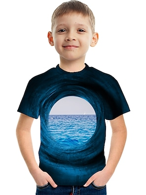 cheap Tops-Kids Boys' Tee Short Sleeve Graphic Optical Illusion Color Block 3D Blue Children Tops Summer Active Streetwear Sports