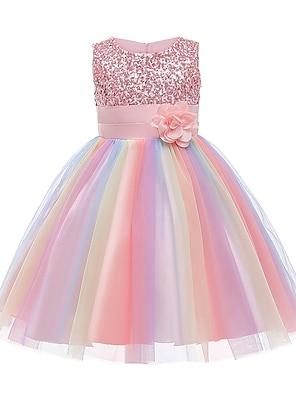 cheap Dresses-Kids Little Girls' Dress Rainbow Flower Party Tutu Dresses Sequins Pleated Bow Blue Purple Blushing Pink Knee-length Sleeveless Cute Dresses 2-12 Years