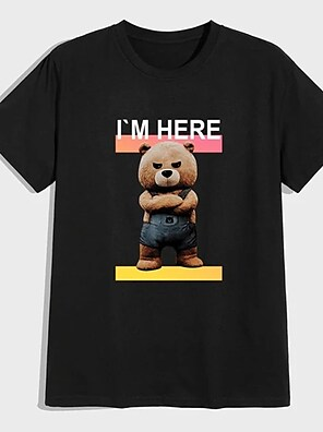 cheap For Men-Men's Unisex Tee T shirt Shirt Hot Stamping Graphic Prints Toy Bear Plus Size Print Short Sleeve Casual Tops 100% Cotton Basic Designer Big and Tall Round Neck Black / Summer
