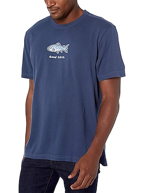 cheap For Men-Men's Unisex Tees T shirt Hot Stamping Graphic Prints Fish Animal Plus Size Print Short Sleeve Casual Tops 100% Cotton Basic Designer Big and Tall Navy Blue