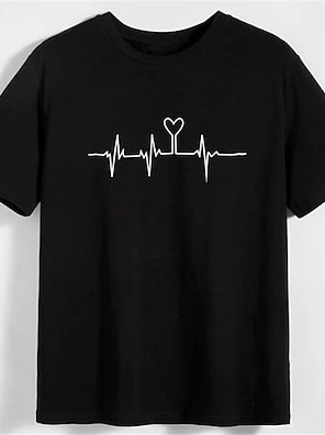 cheap For Men-Men's Unisex T shirt Shirt Hot Stamping Heart Graphic Prints Plus Size Print Short Sleeve Daily Tops 100% Cotton Basic Fashion Classic Round Neck Black / Summer