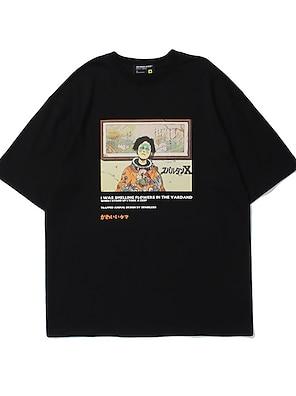 cheap For Men-Men's Unisex T shirt Hot Stamping Cartoon Graphic Prints Plus Size Print Short Sleeve Casual Tops 100% Cotton Basic Casual Fashion Black Orange