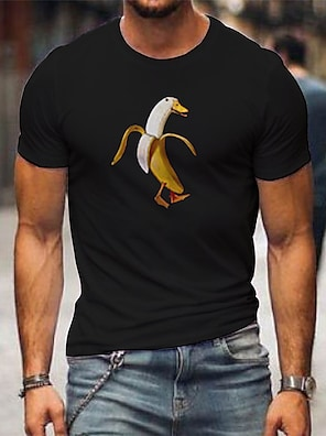 cheap For Men-Men's Unisex Tee T shirt Shirt Hot Stamping Banana Animal Plus Size Print Short Sleeve Casual Tops 100% Cotton Casual Fashion Designer Big and Tall Round Neck Red / White White+Orange White / Summer