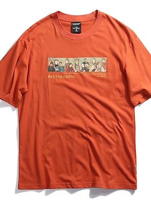 cheap For Men-Men's Unisex T shirt Hot Stamping Graphic Prints PekingOpera Plus Size Print Short Sleeve Casual Tops 100% Cotton Basic Chinese Style Casual Black Orange