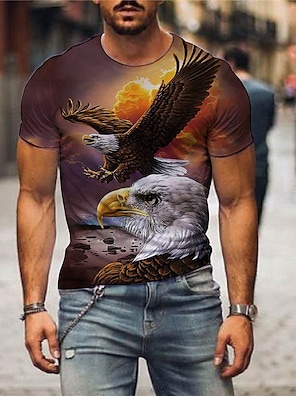 cheap Men's Tops-Men's Tee T shirt 3D Print Graphic Eagle Print Short Sleeve Party Tops Basic Designer Exaggerated Round Neck Blue Yellow Light Brown