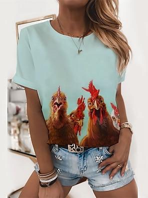 cheap Women's Tops-Women's T shirt Graphic Animal Print Round Neck Tops Basic Basic Top Blue Light Green Gray