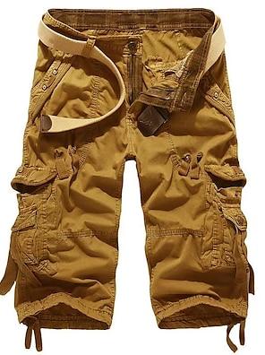 cheap Basic Shorts & Pants-Men's Basic Slim Daily Shorts Tactical Cargo Pants Solid Colored Knee Length Wine Red Khaki Light gray Dark Gray Light Green / Summer