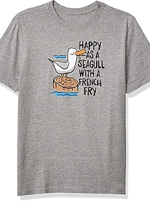 cheap For Men-Men's Unisex Tee T shirt Shirt Hot Stamping Graphic Prints Bird Animal Plus Size Print Short Sleeve Casual Tops 100% Cotton Basic Designer Big and Tall Round Neck Gray / Sports / Summer