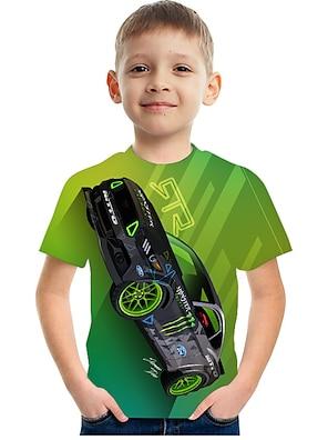 cheap Tops-Kids Boys' T shirt Tee Short Sleeve 3D Print Graphic Car Crewneck Rainbow Children Tops Summer Active Casual Cool 3-12 Years
