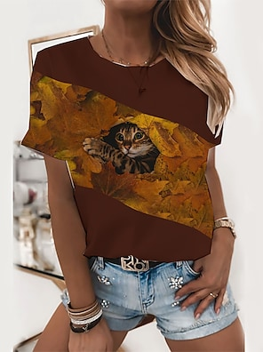 cheap Women's Tops-Women's T shirt Cat Graphic Print Round Neck Tops Basic Basic Top Black Blue Wine