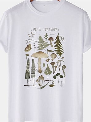 cheap For Men-Men's Unisex Tee T shirt Hot Stamping Plants Mushroom Plus Size Short Sleeve Casual Tops 100% Cotton Basic Designer Big and Tall White Black Yellow