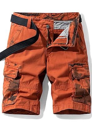 cheap Basic Shorts & Pants-Men's Shorts Cargo Shorts Loose Shorts Pants Solid Colored ArmyGreen Blue Orange Khaki