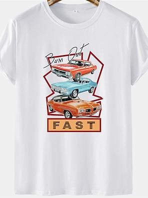 cheap For Men-Men's Unisex Tee T shirt Hot Stamping Car Letter Plus Size Short Sleeve Casual Tops 100% Cotton Basic Designer Big and Tall White Black Khaki