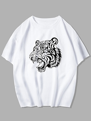 cheap For Men-Men's Unisex Tee T shirt Hot Stamping Graphic Prints Tiger Plus Size Print Short Sleeve Street Tops 100% Cotton Basic Designer Big and Tall White Blue Purple