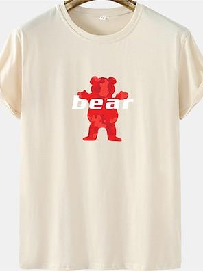 cheap For Men-Men's Unisex Tee T shirt Hot Stamping Graphic Prints Bear Letter Plus Size Short Sleeve Casual Tops 100% Cotton Basic Designer Big and Tall White Black Khaki