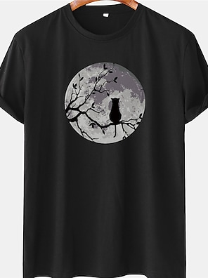 cheap For Men-Men's Unisex Tee T shirt Shirt Hot Stamping Cat Graphic Prints Moon Plus Size Short Sleeve Casual Tops 100% Cotton Basic Designer Big and Tall White Blue Black / Summer